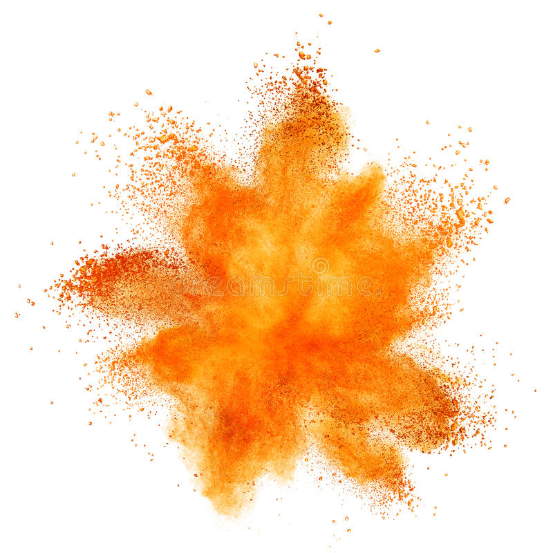 Red powder explosion isolated on white stock images