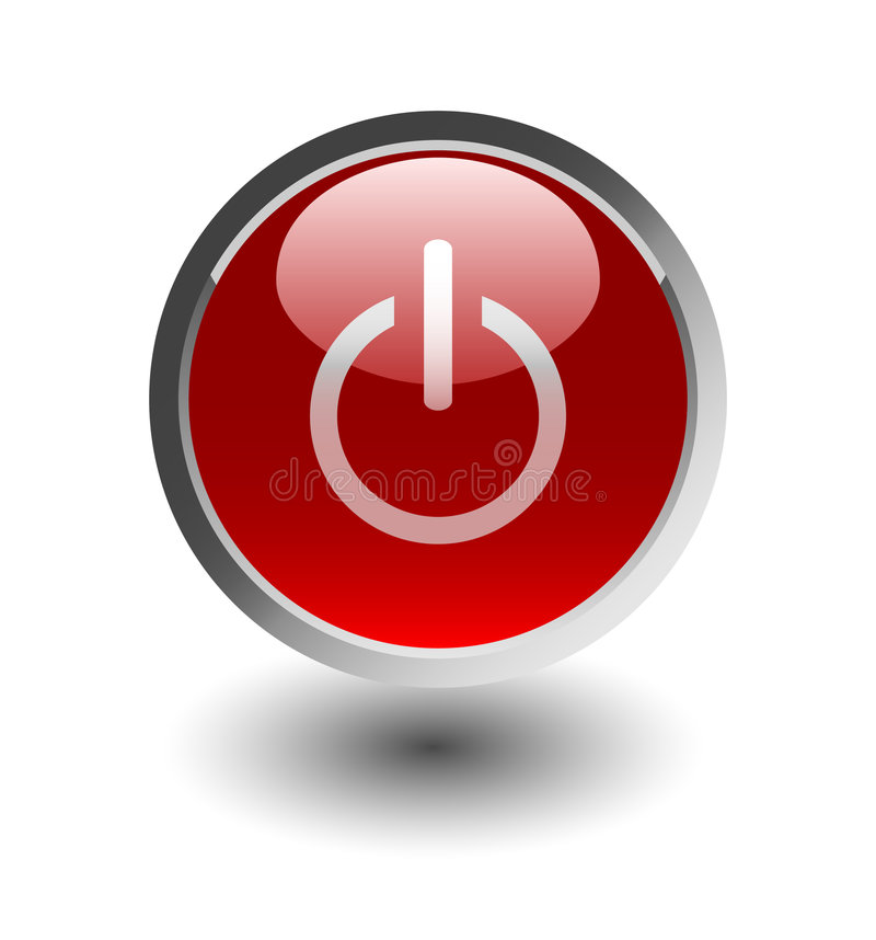 Download Red power button stock vector. Image of reflection, icon - 8740868