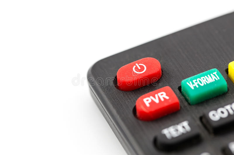 red power button on a remote control for a TV stock image