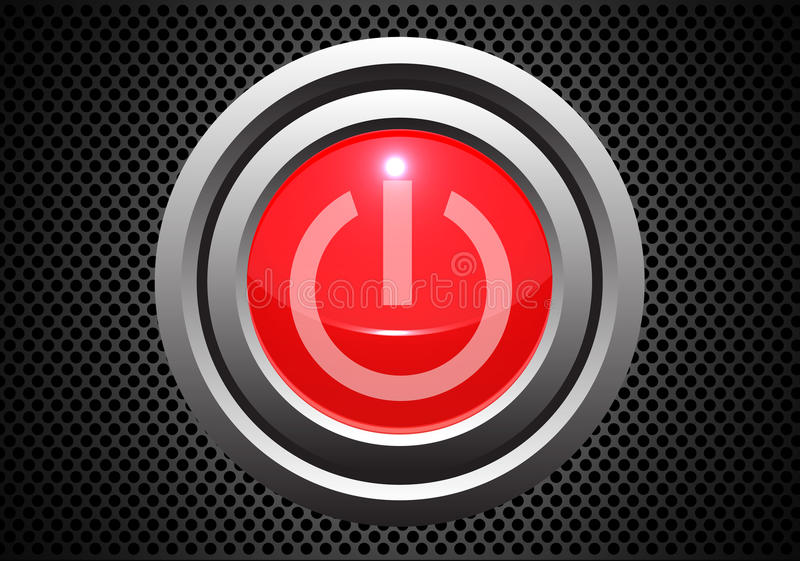 Red power start button on metal gray circle mesh pattern design technology vector. stock illustration
