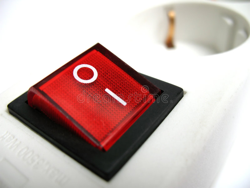 Red power switch royalty free stock image