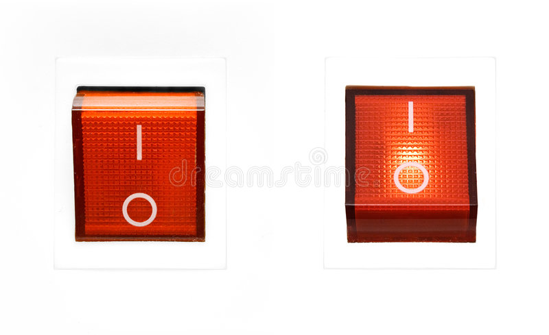Red Power Switch - ON/OFF stock photos