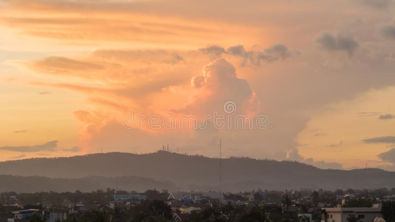 Red powerful storm clouds in the Philippines royalty free stock photography