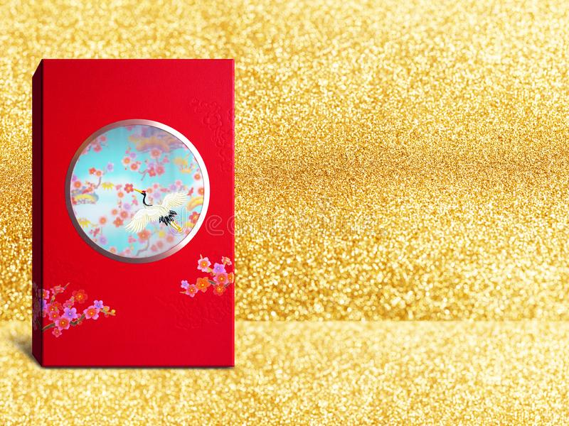 Red premium Chinese gift box for Chinese New Year, Anniversary, Mid-Autumn Festival, Valentine`s Day, Birthday. On sparkling Gold. Background royalty free stock photo