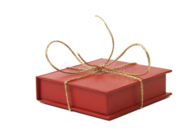 Red Present Box With Golden Shiny Ribbon Stock Image