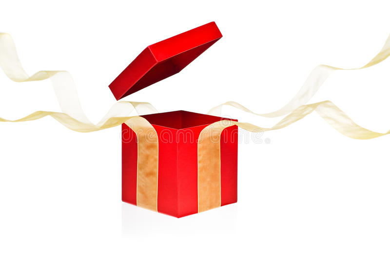 Red Present Box with open cover. And yellow flying ribbon royalty free stock photos