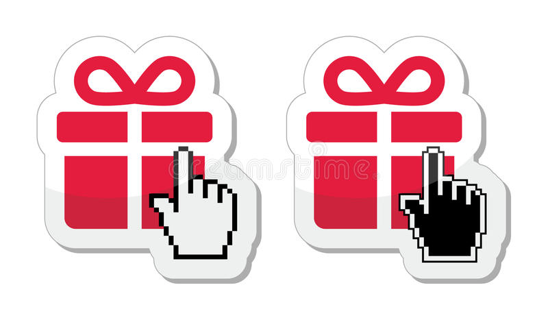 Red present icon with cursor hand. Pixelated hand clicking on gift - buying in shop online concept royalty free illustration