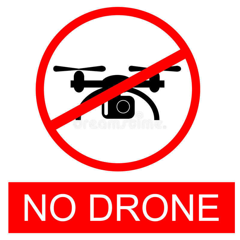 Red prohibited sign No drone isolated on white vector illustration