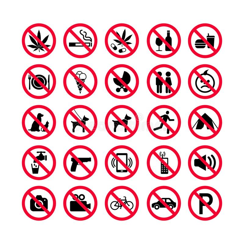 Red prohibition icons set. Prohibition signs. Forbidden sign icons. vector illustration