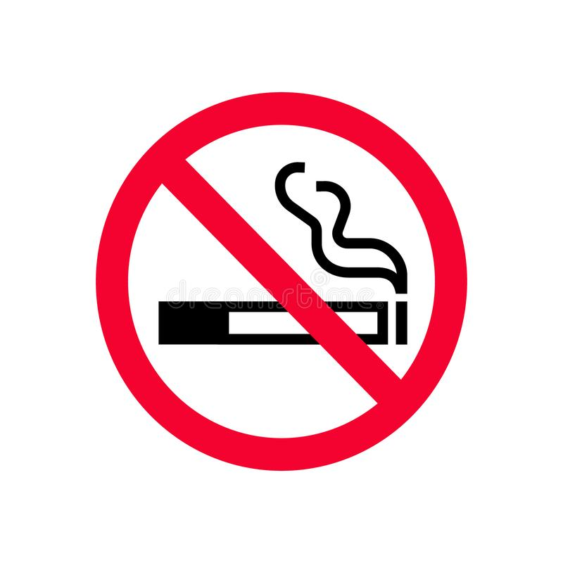 Red prohibition no smoking sign. Forbidden sign don`t smoke. vector illustration