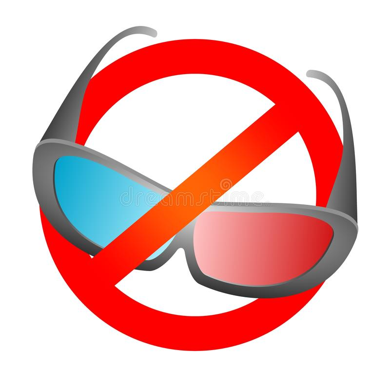 Red prohibition sign with black design 3D movie glasses for cinema and 3D TV with blue and red glass. Prohibit the use 3D electron. Ic. Do not use glasses on a stock illustration