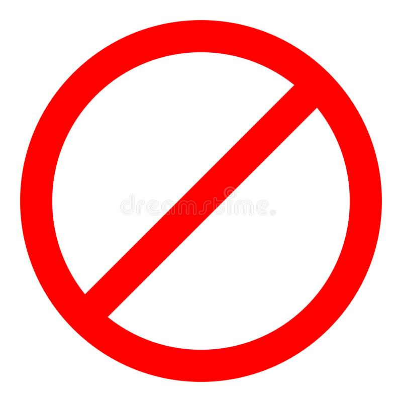 Red prohibition sign. Not allow icon. Vector Illustration.  royalty free illustration