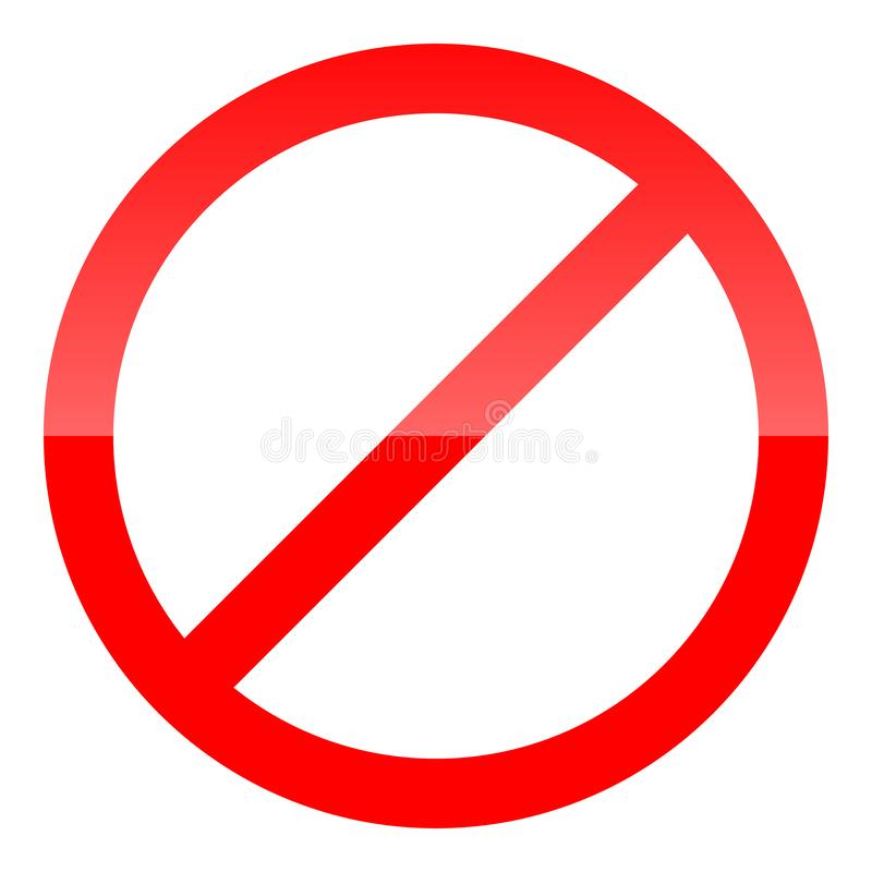 Red prohibition sign. Not allow icon. Vector Illustration.  stock illustration