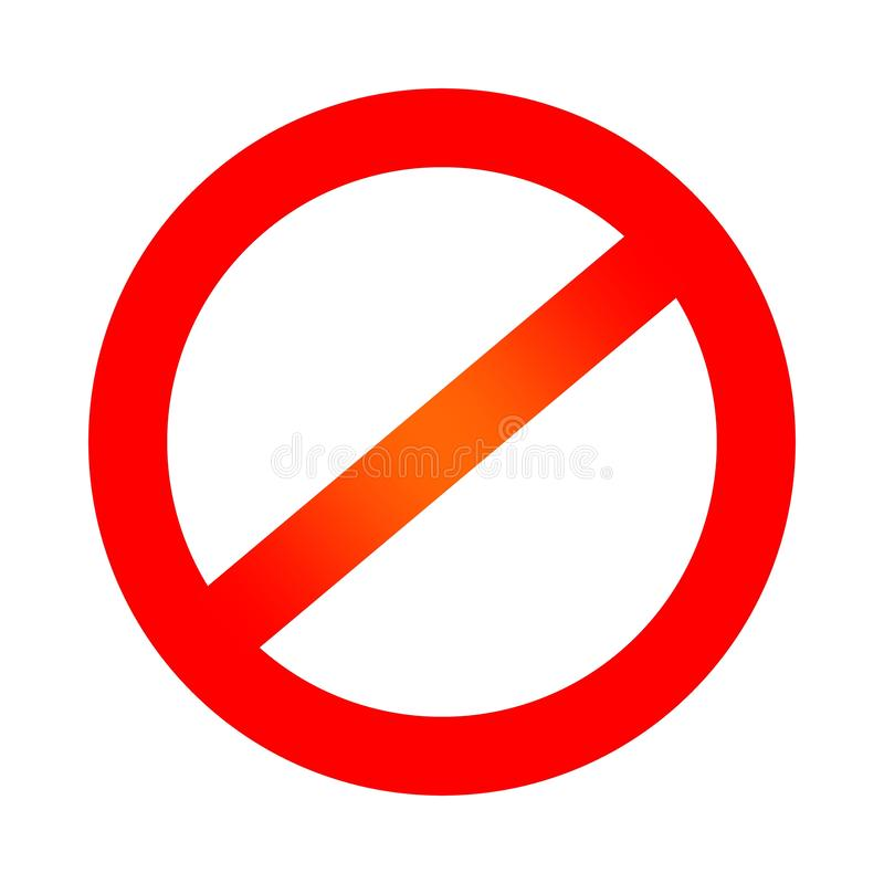 Red prohibition symbol. Negative sign. No sign icon isolated on white background. vector illustration