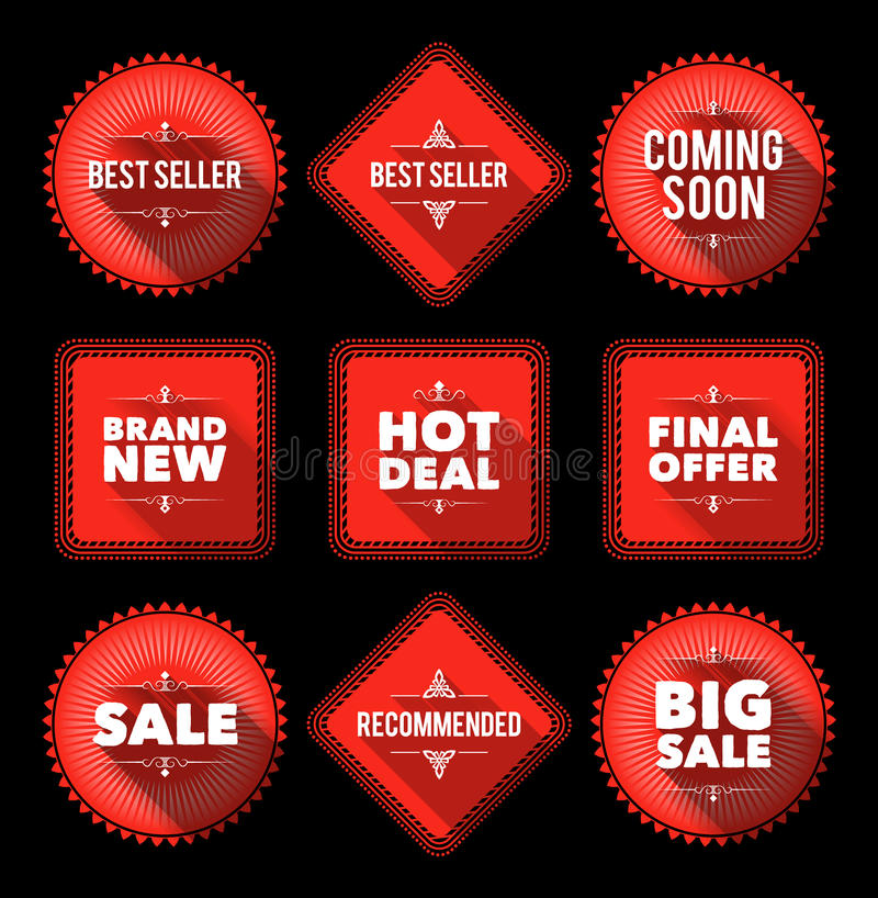 Red promotion badges stock illustration