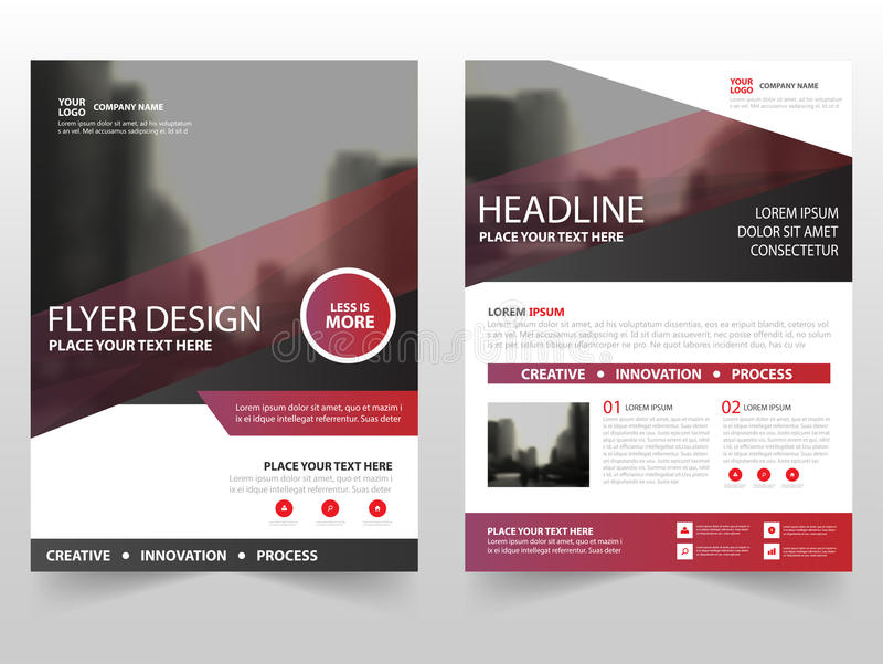 Red purple business Brochure Leaflet Flyer annual report template design, book cover layout design, abstract business presentation royalty free illustration