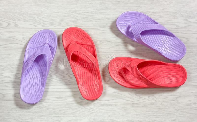 Red and Purple Flip Flops royalty free stock image