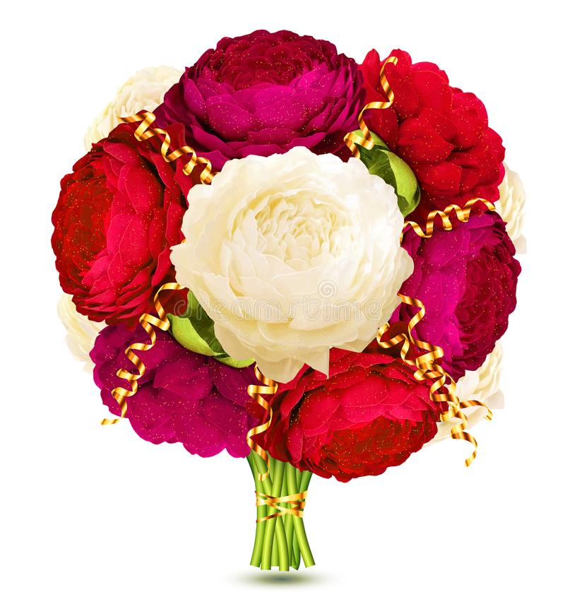 Red and purple peonies vector bride`s bouquet with golden serpentine ribbons isolated on white background vector illustration