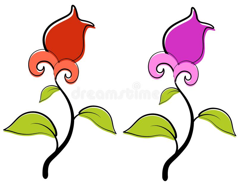 Red and Purple Spring Flowers Clip Art stock photo