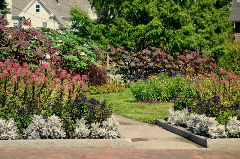 Flower garden in front of house and paved path stock image