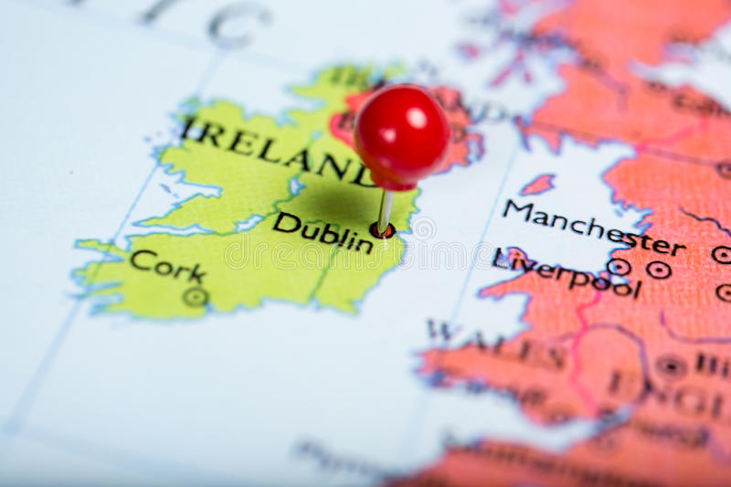Red Push Pin On Map Of Ireland Stock Image Image of push dublin