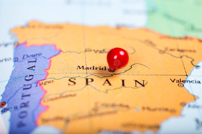 Red Push Pin On Map Of Spain Stock Photo Image of madrid europe