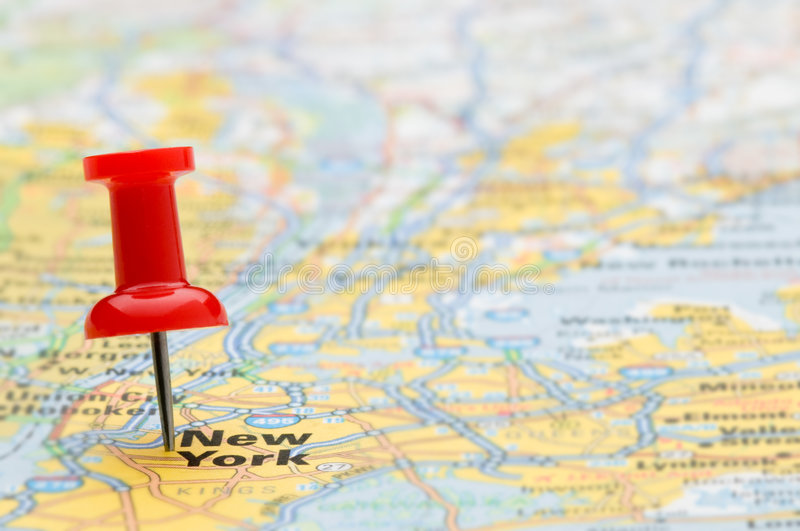 Download Red Pushpin Marking New York City On Map Stock Photo - Image: 6317604