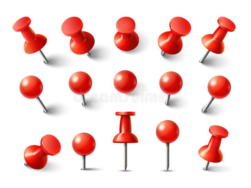 Red pushpin top view. Thumbtack for note attach collection. Realistic 3d push pins pinned in different angles vector set stock illustration