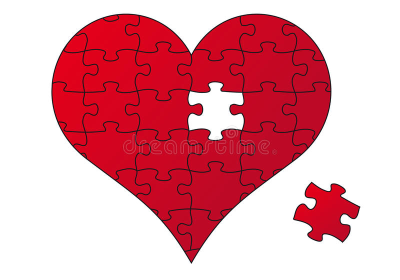 Red puzzle heart, vector