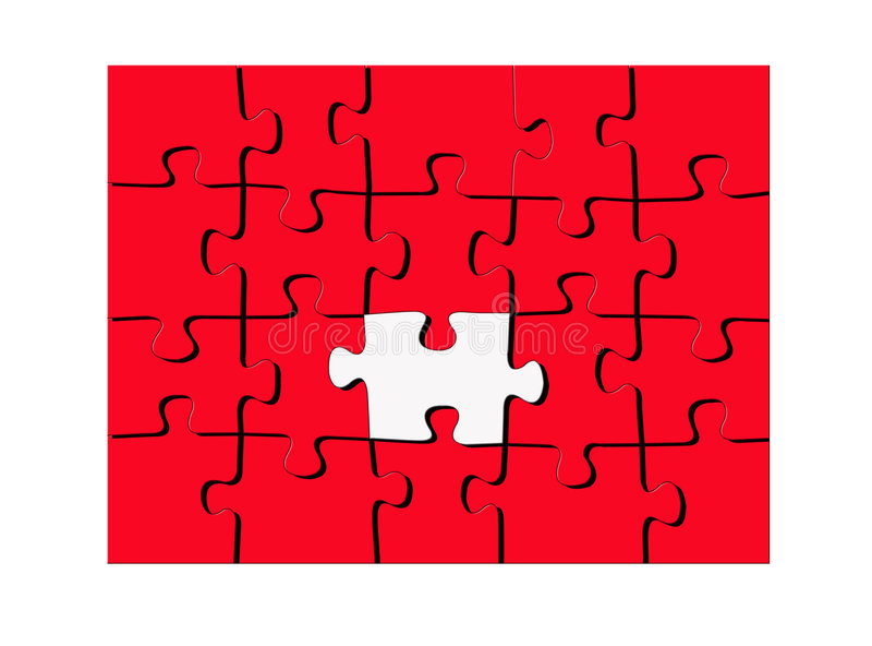 Red puzzle with one white piece. All red puzzle design with one sole white or missing piece standing out in the center and a white border around entire puzzle stock illustration