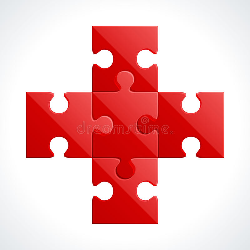 Download Red Puzzle Pieces Stock Illustration Of