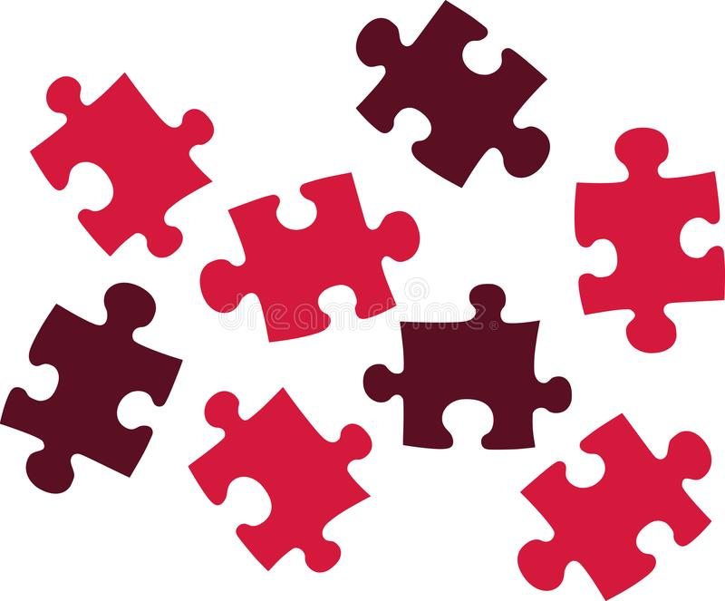Red puzzle pieces. Jigsaw vector royalty free illustration