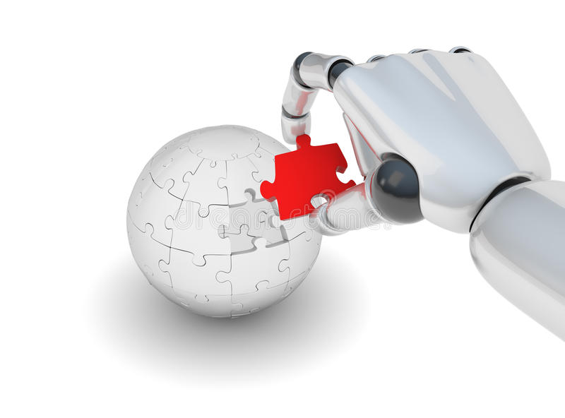 Red puzzle in robo hand. Red puzzle in hand of robot on white background stock illustration
