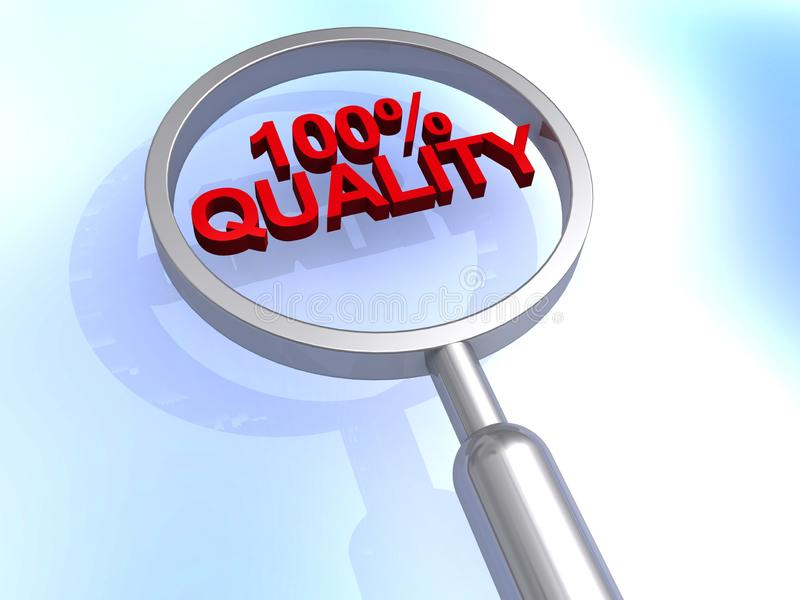 100% quality magnified. Red 100% quality heading magnified royalty free stock photo