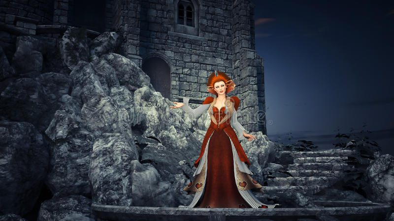 The Red Queen. A fantasy scene with the Red Queen and castle background vector illustration
