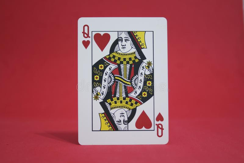 THE RED QUEEN. Queen of hearts, poker card stock photo