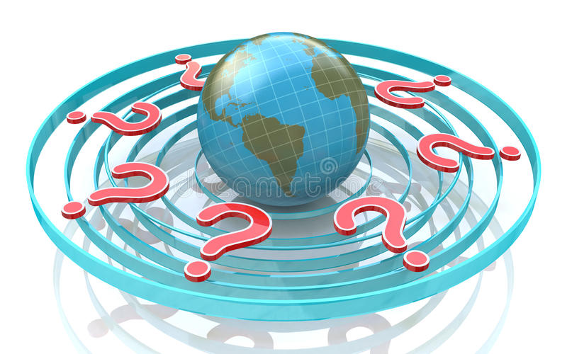 Red query marks around earth globe. Planet surrounded by question marks royalty free illustration