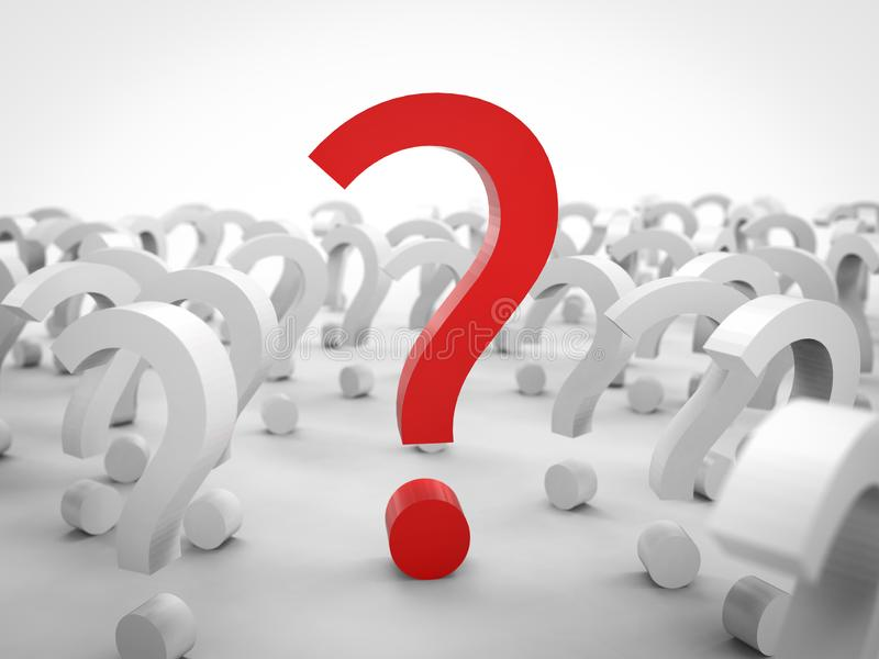 Red question mark. 3d rendering red question mark with white question marks on white background stock image