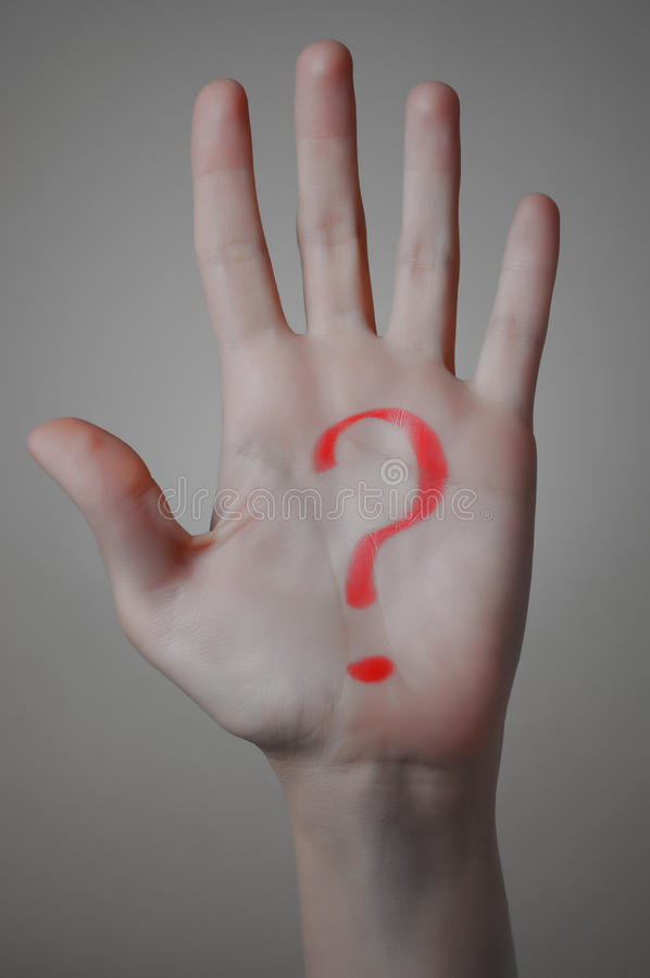 Download Red Question Mark On A Hand Stock Image - Image: 31250849