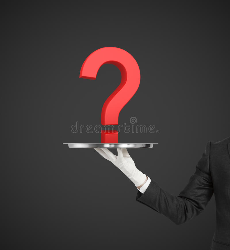 Red question mark. Hand holding silver plate with red question mark royalty free stock photography