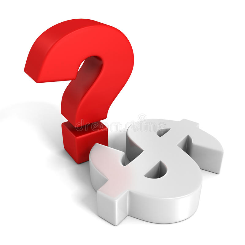 Red Question Mark And White Dollar Currency Symbol Stock