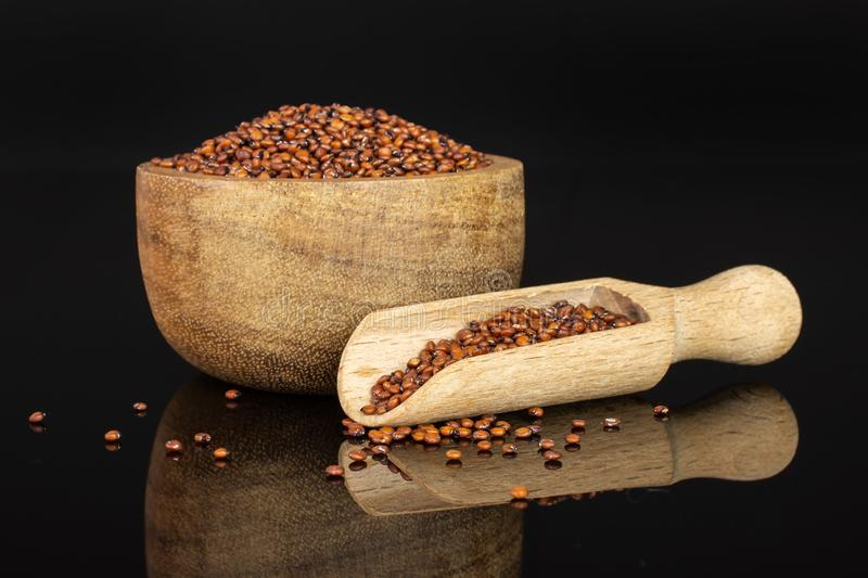 Red quinoa seeds isolated on black glass. Lot of whole raw red quinoa seeds in a wooden bowl with wooden scoop isolated on black glass stock image