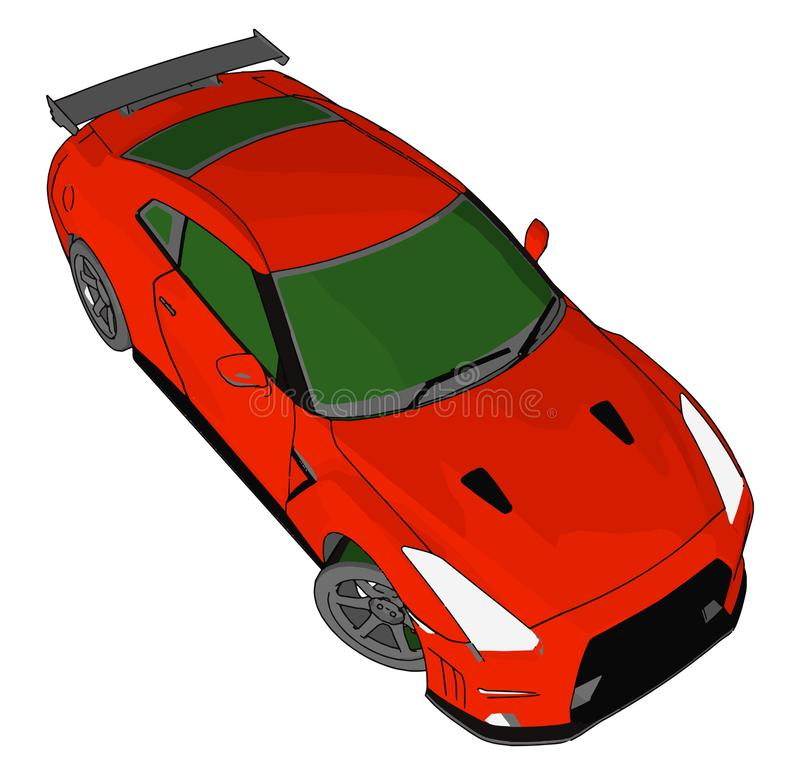 Red race car with green windows and black detailes and grey rear spoiler vector illustration stock illustration