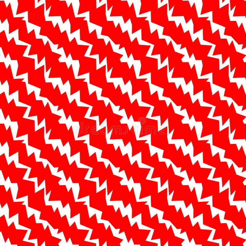 Red Rage Spikes Pattern Background. Red and white diagonal spikes lines geometric pattern. Squares geometric seamless tile background stock illustration
