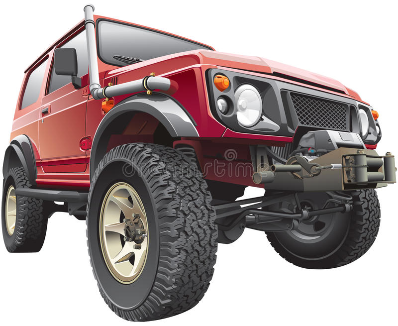 Red rally jeep vector illustration