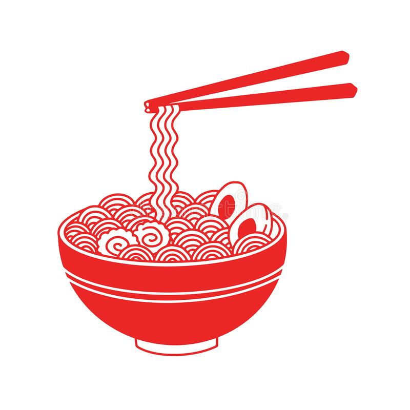 Red Ramen Noodle Soup Icon Stock Vector Illustration Of Dinner 186551924