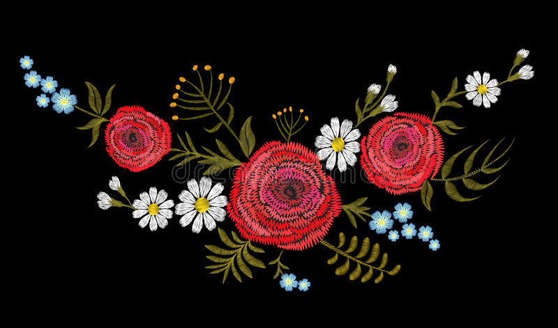 Download Red Ranunculus Buttercupherb Field Flower. Vintage Postcard. Traditional Embroidery Floral Pattern. Vector Folk Fashion Ornament B Stock Illustration - Illustration of neck, bouquet: 92436452