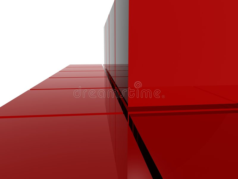 Red raytrace pyramid structure. Simple red raytrace pyramid structure stock illustration