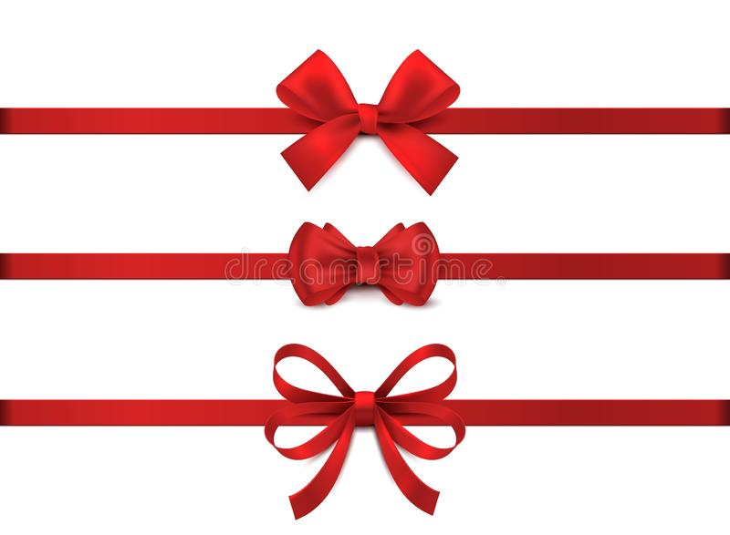 Red realistic bow. Horizontal red ribbon collection. Holiday gift decoration, valentine present tape knot, shiny sale. Ribbons set. Vector illustration stock illustration