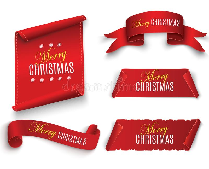 Red realistic detailed curved paper Merry Christmas banner isolated on white background. Vector illustration. stock illustration